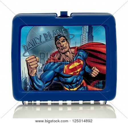 Winneconne, WI - 8 April 2016:  Lunch box featuring Superman on an isolated background.