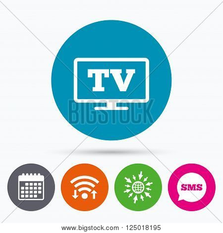 Wifi, Sms and calendar icons. Widescreen TV sign icon. Television set symbol. Go to web globe.