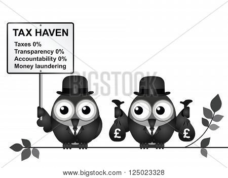 Bird businessman holding bags of money deposited in a tax haven paying no tax and shrouded in secrecy UK version isolated on white background