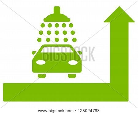 Carwash Turn Ahead vector illustration for street advertisement. Style is eco green flat symbols on a white background.
