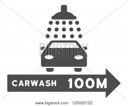 Carwash Right Direction vector illustration for street advertisement. Style is gray flat symbols on a white background.