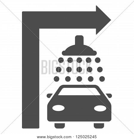 Carwash Turn Right vector illustration for street advertisement. Style is gray flat symbols on a white background.