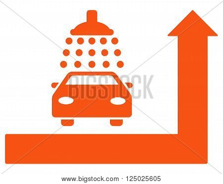 Carwash Turn Ahead vector illustration for street advertisement. Style is orange flat symbols on a white background.
