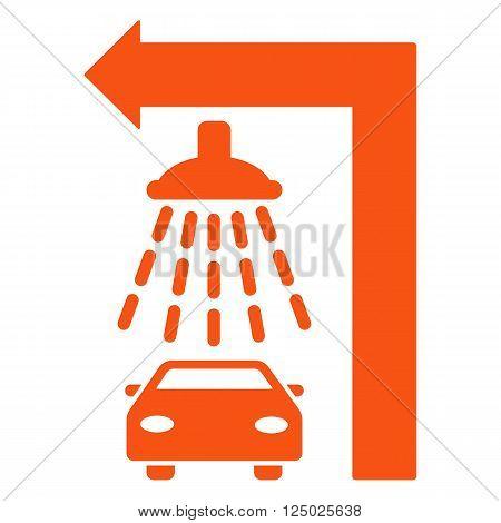 Carwash Turn Left vector illustration for street advertisement. Style is orange flat symbols on a white background.
