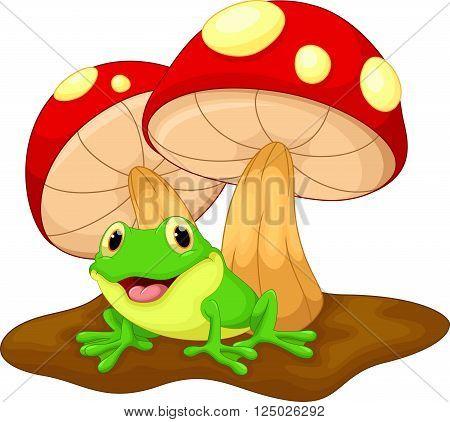 Cute frog cartoon and mushrooms on white background