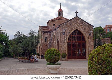 BARCELONA, SPAIN - JULY 31, 2015: Chapel of Saint Joseph of the Mountain (El Real Santuario de San Jose de la Montana) in Barcelona, Spain