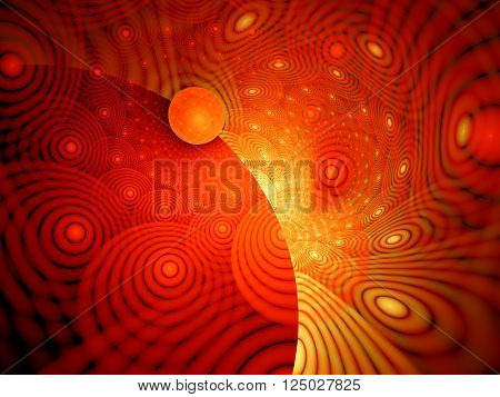 Fiery hypnotic circles, computer generated abstract background
