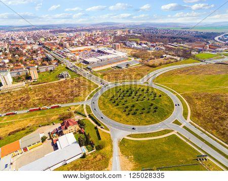 Aerial view of roundabout in Pilsen, Czech republic, Central Europe. Nowadays, the Pilsen metropolitan area covers 125 square kilometres. Its population is 165, 000 inhabitants.