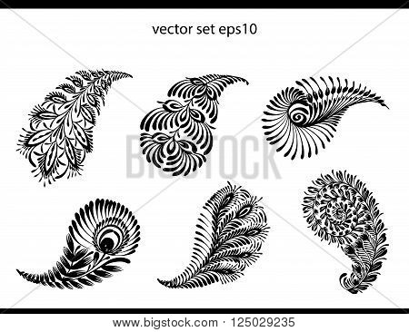 Vector abstract pattern of tattoo henna - indian cucumbers. Stock mehndi set for design on white background.