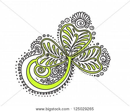 Vector abstract pattern of tattoo henna clover. Stock mehndi illustration for design on white background.
