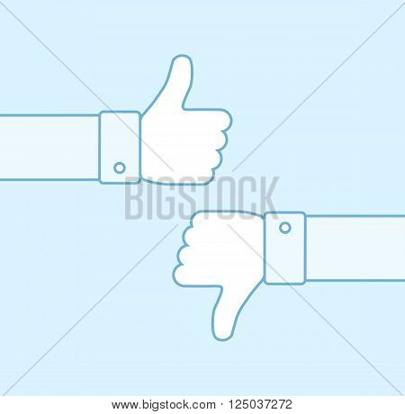 Thumbs up and thumbs down line icons. Thumbs outline icons. Positive and negative feedback. Good and bad gestures. Like and dislike concept. Vector illustration