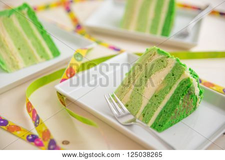 Home made green ombre layer cake with buttercream