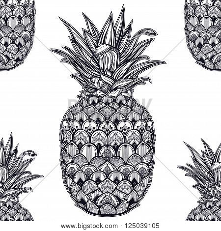 Vector seamless pattern with ornamental pineapple fruit. Ethnic art, patterned paisley tile.