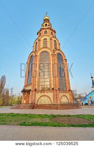 Krivoy Rog Ukraine - April 8 2016: St. George's bell tower. Built near the Victory Monument in honor of those killed in the Great Patriotic War soldiers.