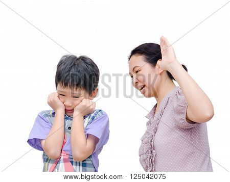 Mother Being Physically Abusive Towards Son Over White Background