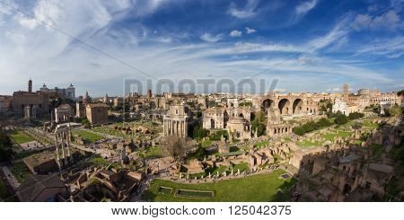 Panorama of the Forum Romanum - Wide Angle version Rome Italy