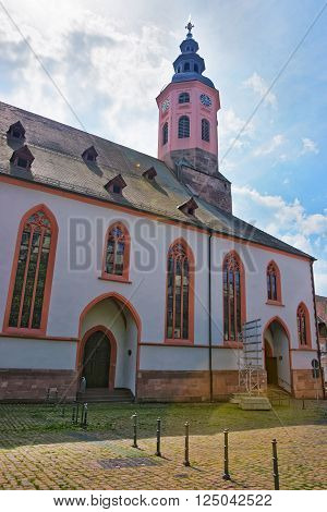 Baden-Baden church. Baden-Baden is a spa town. It is situated in Baden-Wurttemberg in Germany. Its church is called Stiftskirche.