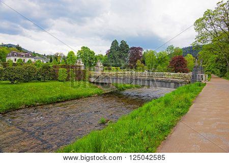 Bridge and river in Lichtentaler Allee park in Baden-Baden. Baden-Baden is a spa town. It is situated in Baden-Wurttemberg in Germany.