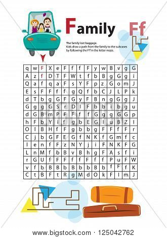 Letter Maze F. This worksheet helps kids recognize and name capital and lowercase letters. Kids also exercise thinking skills and fine motor skills as they navigate the maze. The family lost suitcase