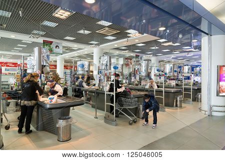 Moscow, Russia - April 04.2016. Supermarket checkout of Alye Parusa