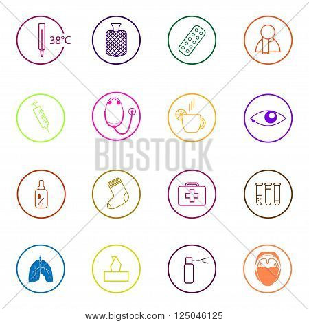 Set of colorful medical icons in flat design