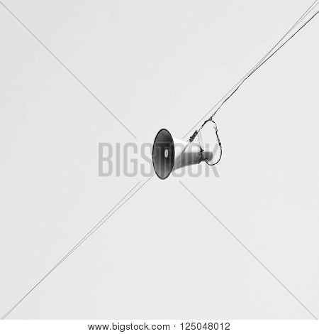 Loudspeaker isolated on white background white copy space