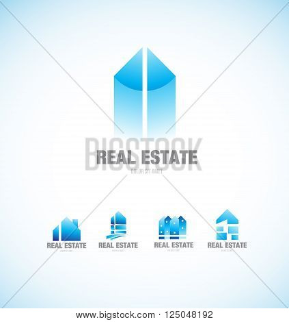 Vector company logo icon element template real estate building blue property residential house home