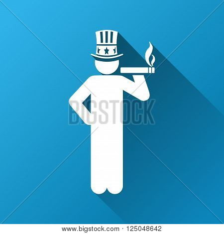 American Capitalist vector toolbar icon for software design. Style is a white symbol on a square blue background with gradient long shadow.