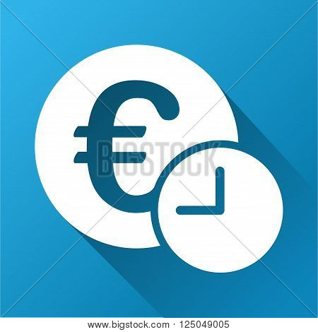 Euro Credit vector toolbar icon for software design. Style is a white symbol on a square blue background with gradient long shadow.