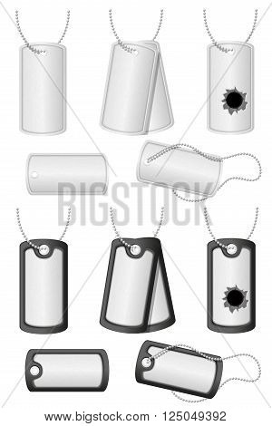 Collection of soldier military dog tags vector illustration isolated on white background