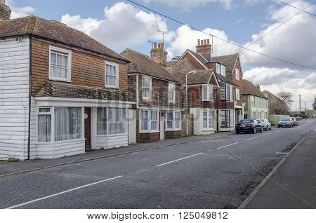 HIGH STREET, BROOKLAND, ROMNEY MARSH, KENT, UK, 23 FEBRUARY 2016 - View of the High Street in the village of Brookland, Romney Marsh, Kent