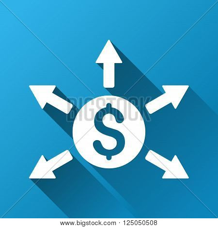 Cashout vector toolbar icon for software design. Style is a white symbol on a square blue background with gradient long shadow.