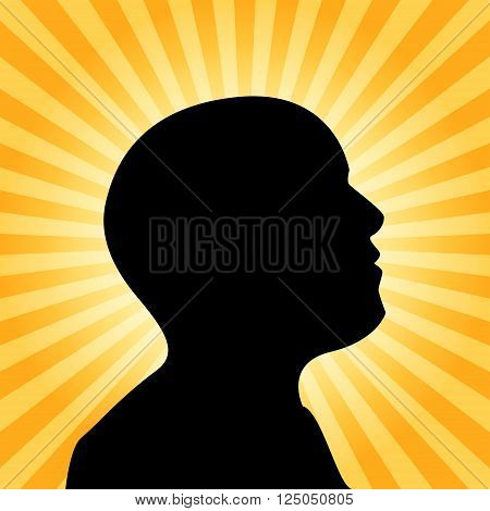 Human silhouette illustration idea concept 2d vector on sun ray background eps 10