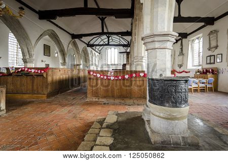 ST AUGUSTINES CHURCH, BROOKLAND, ROMNEY MARSH, KENT 25TH FEBRUARY 2016 - Interior of Saint Augustines church, Brooklands, Romney Marsh, with lead font in the foreground
