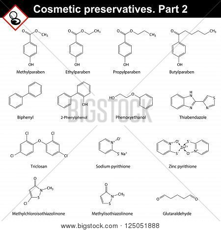Molecular structures of main cosmetic preservatives second set 2d vector on white background eps 8