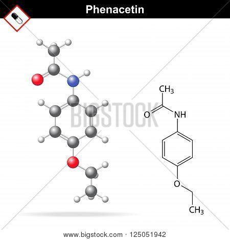 Phenacetin structural chemical formula and model 2d and 3d vector illustration eps 8