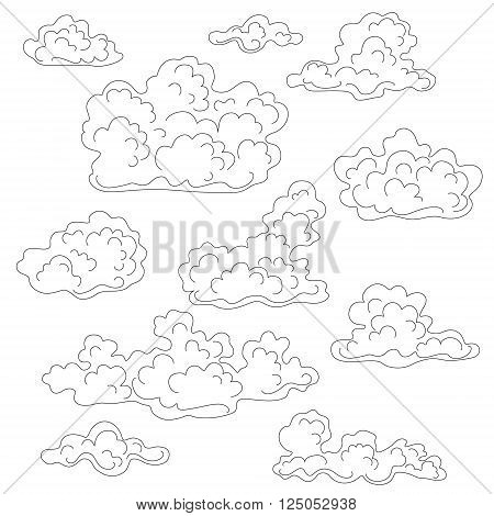 Cumulus clouds outline set. Black and white elements for coloring.