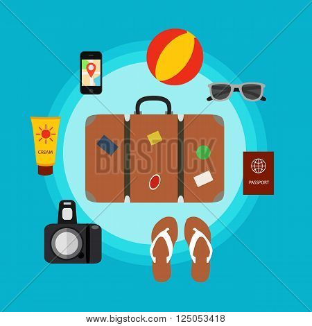 Travel baggage concept with travel elements, voyage tourism  icons. Summer travel luggage concept suitcase. Voyage travel concept in flat style.