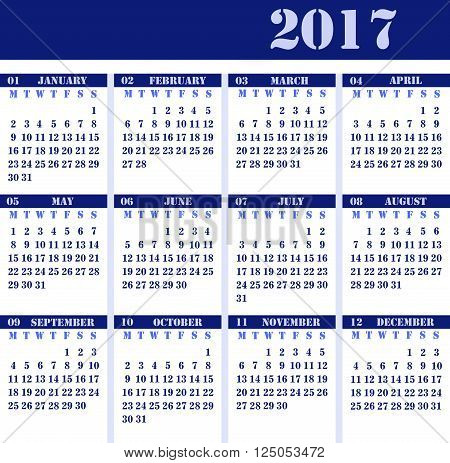 Calendar for 2017 blue design strict business design