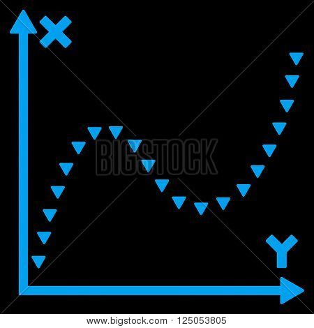 Dotted Function Graph vector icon. Dotted Function Graph icon symbol. Dotted Function Graph icon image. Dotted Function Graph icon picture. Dotted Function Graph pictogram.
