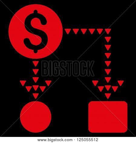Cashflow Scheme vector icon. Flat red cashflow scheme icon.