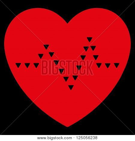 Dotted Heart Pulse vector icon. Dotted Heart Pulse icon symbol. Dotted Heart Pulse icon image. Dotted Heart Pulse icon picture. Dotted Heart Pulse pictogram. Flat red dotted heart pulse icon.