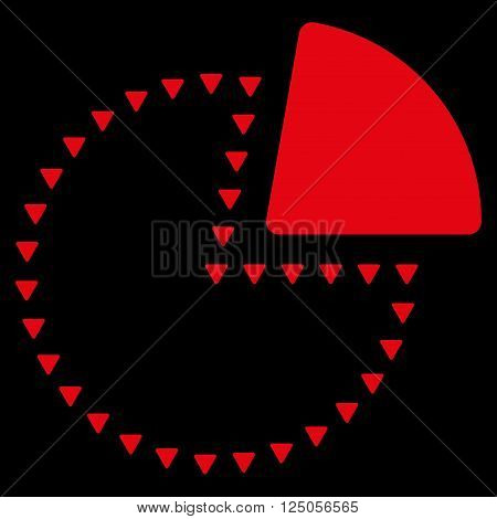 Dotted Pie Chart vector icon. Dotted Pie Chart icon symbol. Dotted Pie Chart icon image. Dotted Pie Chart icon picture. Dotted Pie Chart pictogram. Flat red dotted pie chart icon.