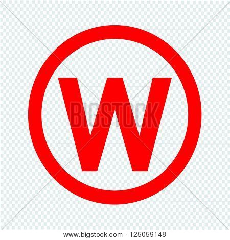 Basic font letter W icon Illustration design