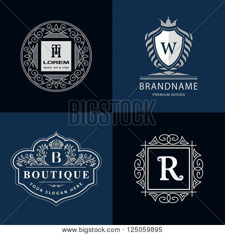 Vector illustration of Monogram design elements graceful template. Calligraphic elegant line art logo design. Letter emblem H T B W R for Royalty business card Boutique Hotel Heraldic Jewelry