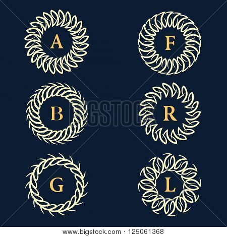 Vector illustration of Monogram design elements graceful template. Calligraphic elegant line art logo design. Letter emblem sign A B C F R L for Royalty business card Boutique Hotel Heraldic