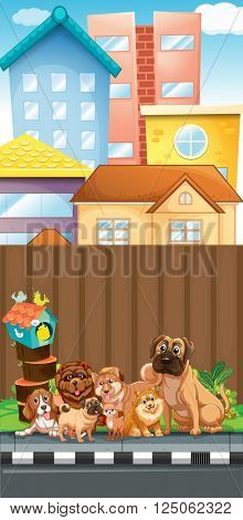 Dogs sitting on the pavement illustration