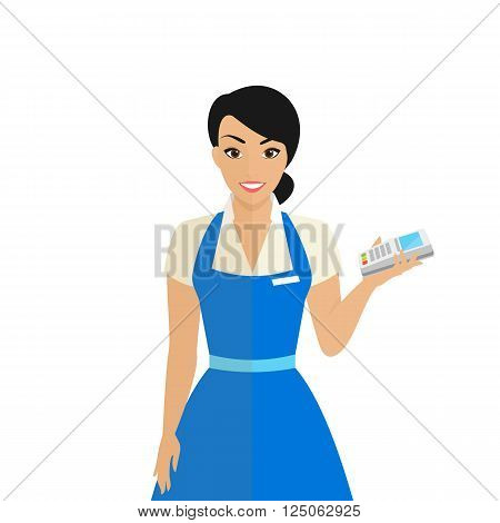 Friendly female shop assistant holding payment terminal in her hand to provide payment by credit card pincode. Flat modern illustration of smiling woman wearing uniform isolated on white background