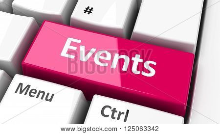 Events key on the computer keyboard three-dimensional rendering, 3D illustration
