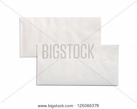 two white envelope isolated on white background